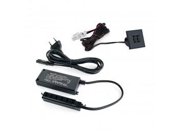 Emuca Conector cuadrado, para encastrar en el mueble, 2 USB, 37 mm, Plástico, Negro