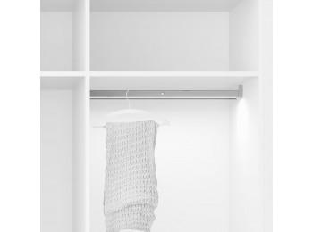 Emuca Barra para armario con luz LED, regulable  558-708 mm, 3,3 W-12V DC, sensor de movimiento, Luz Blanca natural, Aluminio, Anodizado mate
