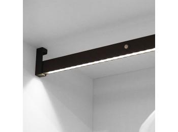 Emuca Barra para armario con luz LED, regulable 858-1.008 mm, batería extraible, sensor de movimiento, Luz Blanca natural, Aluminio, Color moka