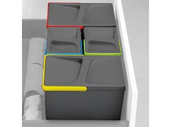 Emuca Contenedores para cajón cocina, altura 216 mm, 1x12L, Gris antracita