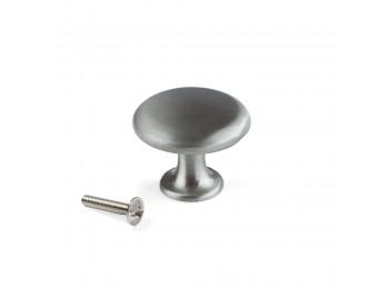 Emuca Pomo para mueble, D. 31 mm, Zamak, Níquel satinado