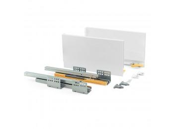 Emuca Kit cajón de cocina Concept, altura 185 mm, prof. 500 mm, cierre suave, Acero, Blanco