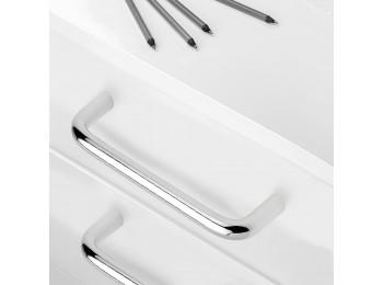 Emuca Tiradores para mueble, D. 8 mm, intereje 128 mm, Acero, Cromado, 20 ud.