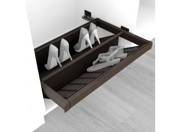 Emuca Zapatero extraible para interior de armario, módulo de 900 mm, cierre suave, Acero, color moka