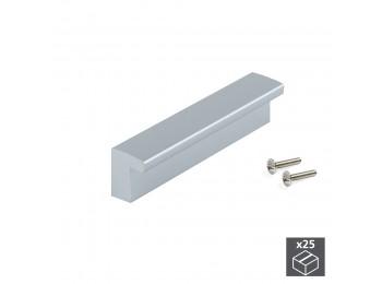 Emuca Tiradores para mueble, intereje 96 mm, Plástico ABS, Gris metalizado, 25 ud.