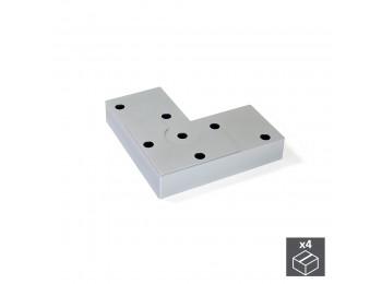 Emuca Pie para mueble, altura 12 mm, Plástico, Gris metalizado, 4 ud.