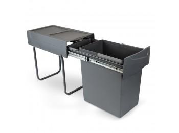 Emuca Contenedor de reciclaje de 20 L para cocina, fijación inferior, extracción manual, acero y plástico, gris antracita.