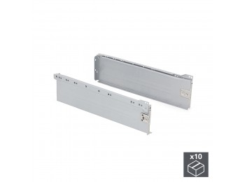 Emuca Kit cajón de cocina Ultrabox, altura 150 mm, prof. 270 mm, Acero, Gris metalizado, 10 ud.