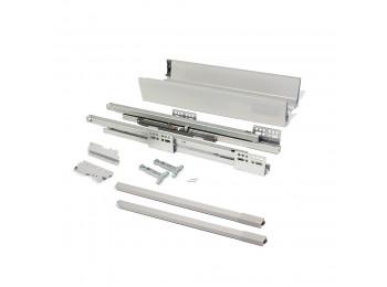 Emuca Kit de cajón de cocina Vantage-Q, altura 141 mm, prof. 400 mm, con barandillas, cierre suave, Acero, Gris metalizado.