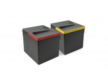 Emuca Contenedores para cajón cocina, altura 216 mm, 2x12L, Gris antracita