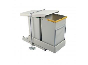 Emuca Contenedor de reciclaje, fijación inferior, extración y tapa automatica, 2 cubos de 14 litros, Plástico, Gris