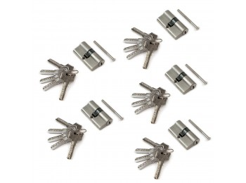 Emuca Cilindro cerradura de seguridad tipo pera para puertas, 30 x 30 mm, embrague simple, leva larga, con 5 llaves, aluminio, níquel satinado, 5 sets.