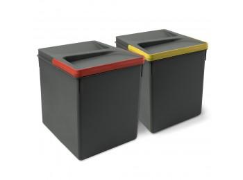 Emuca Contenedores para cajón cocina, altura 266 mm, 2x15L, Gris antracita