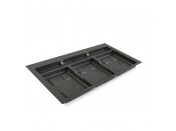 Emuca Base para contenedores cajón cocina, módulo 800 mm, Plástico, Gris antracita