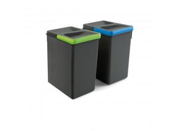 Emuca Contenedores para cajón cocina, altura 266 mm, 2x7L, Gris antracita