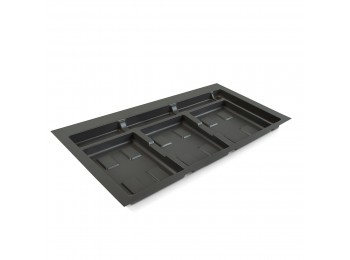 Emuca Base para contenedores cajón cocina, módulo 900 mm, Plástico, Gris antracita