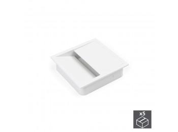 Emuca Pasacables mesa, cuadrado, 85 x 85 mm, para encastrar, Plástico, Blanco, 5 ud