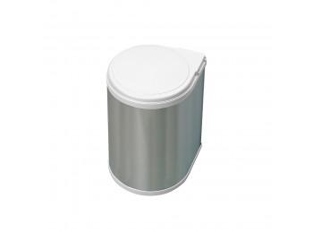Emuca Contenedor de reciclaje, 13 L, fijación puerta, apertura tapa automatica, Plástico, Inox.