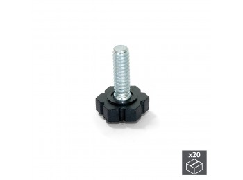 Emuca Pie nivelador para mueble, base hexagonal, M6, altura 30 mm, Acero y plástico, 20 ud.