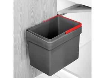 Emuca Contenedor de reciclaje, 15 L, fijación puerta, apertura tapa automatica, Plástico, Gris antracita