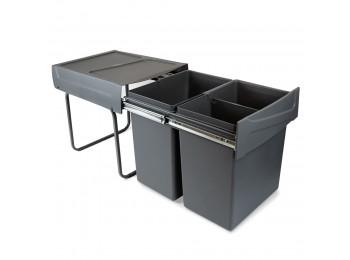 Emuca Contenedores de reciclaje para cocina, 2 x 20 L, fijación inferior, extracción manual, acero y plástico, gris antracita.