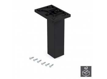 Emuca Pie para mueble, central, regulable 140 - 150 mm, Plástico, Negro, 2 ud.