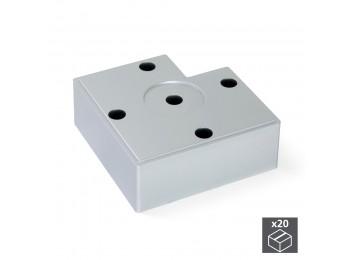 Emuca Pie para mueble, altura 45 mm, Plástico, Gris metalizado, 20 ud.