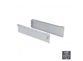 Emuca Kit cajón de cocina Ultrabox, altura 118 mm, prof. 270 mm, Acero, Gris metalizado, 10 ud.
