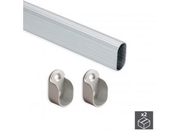 Emuca Barra de armario, ovalada 30x15 mm, 950 mm, Aluminio, Anodizado mate, 2 ud.