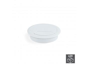 Emuca Tapa pasacables circular, D. 60 mm, para encastrar, Plástico, Blanco, 20 ud.