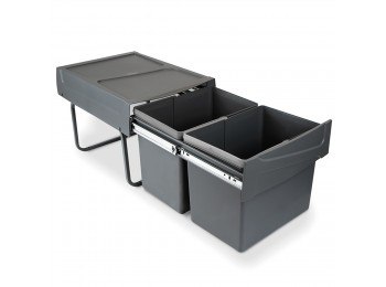 Emuca Contenedores de reciclaje para cocina, 2 x 15 L, fijación inferior, extracción manual, acero y plástico, gris antracita.