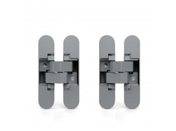 Emuca Bisagras ocultas para puertas de paso, carga 40 Kg, apertura 180º, zamak, gris metalizado, 2 ud.
