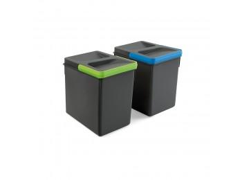 Emuca Contenedores para cajón cocina, altura 216 mm, 2x6L, Gris antracita