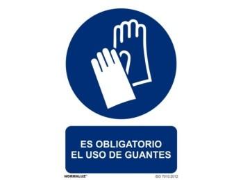 Cartel seÑalizacion 210x300mm pvc obliga uso guantes normalu