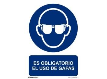 Cartel seÑalizacion 210x300mm normaluz pvc obliga uso gafas