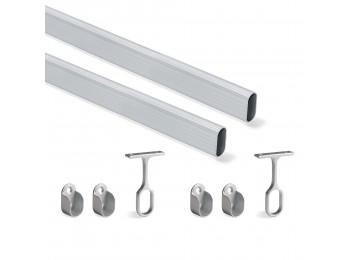 Emuca Kit de barra para armario 30x15 mm aluminio, 1150 mm, Anodizado mate