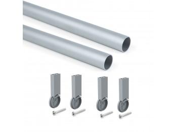Emuca Kit de barra para armario redonda D. 28, 750 mm, aluminio, Anodizado mate