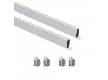 Emuca Kit de barra para armario 30x15 mm aluminio, 750 mm, Anodizado mate