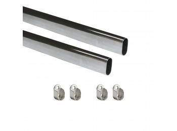 Emuca Kit de barra para armario 30x15 mm acero, 750 mm, Cromado