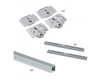 Emuca Sistema Flow para 2 puertas correderas de madera apoyadas, cierre suave, tableros no incluidos, Acero y aluminio, anodizado