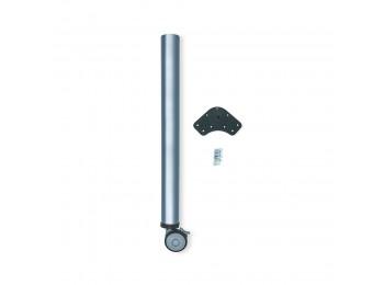 Emuca Pata para mesa, D. 60 mm, rueda con freno, regulables, 735-755 mm, Acero, Gris metalizado