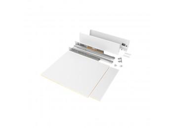 Emuca Kit de cajón para cocina o baño con tableros incluidos, cierre suave, profundidad 500 mm, altura 93 mm, módulo 450 mm, Acero, Blanco.