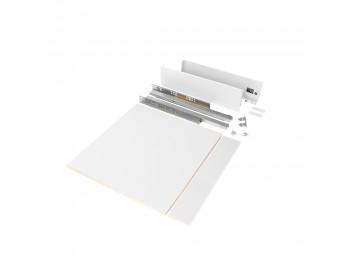 Emuca Kit de cajón para cocina o baño con tableros incluidos, cierre suave, profundidad 500 mm, altura 93 mm, módulo 600 mm, Acero, Blanco.