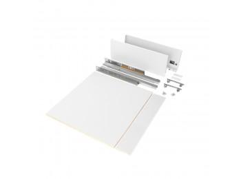 Emuca Kit de cajón para cocina o baño con tableros incluidos, cierre suave, profundidad 500 mm, altura 178 mm, módulo 600 mm, Acero, Blanco.