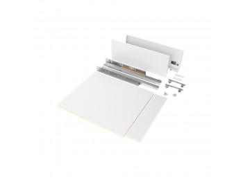 Emuca Kit de cajón para cocina o baño con tableros incluidos, cierre suave, profundidad 500 mm, altura 178 mm, módulo 450 mm, Acero, Blanco