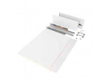 Emuca Kit de cajón para cocina o baño con tableros incluidos, cierre suave, profundidad 500 mm, altura 178 mm, módulo 900 mm, Acero, Blanco.