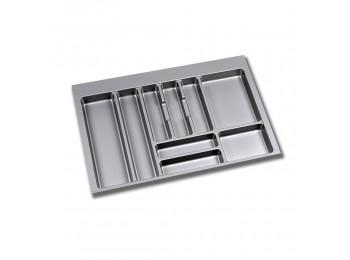 Emuca Cubertero para cajón de cocina, módulo 800 mm, Plástico, Gris