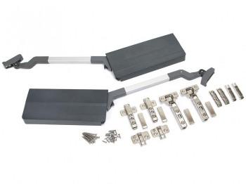 Emuca Compás Agile Flap para puertas elevables dobles, 7-11,6 kg, módulo H 650mm, acero y plástico, gris antracita