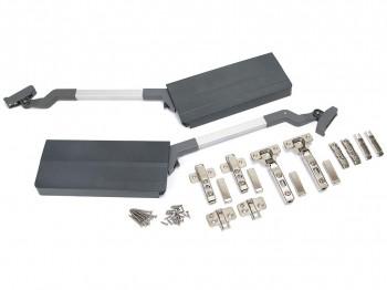 Emuca Compás Agile Flap para puertas elevables dobles, 7,8-13 kg, módulo H 590mm, acero y plástico, gris antracita