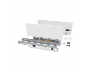 Emuca Kit cajón Vertex de cocina o baño, altura 131 mm, prof. 350 mm, 40 Kg, cierre suave, Acero, Blanco